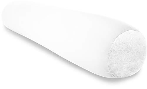 "Deluxe Comfort Microbead Body Pillow (47"" x 7"") – Mooshi Squishy Soft – Prenatal Pregnancy Pillow – Full-Body Side Sleeper – Body Pillow, White"