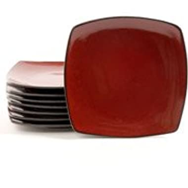Gibson Home Soho Lounge 10.5  Square Dinner Plates, Red, Set of 8
