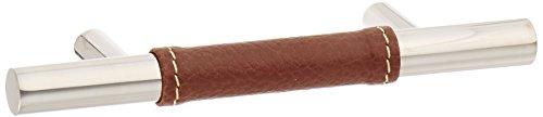 Zanzibar Leather (Atlas Homewares 280-OW/CH 136-mm Zanzibar Leather Pull, Polished Chrome)