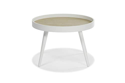 Hensen Mid-Century Modern Round White Accent Table: use as End, Side, Bedside, or Mini-Coffee Table