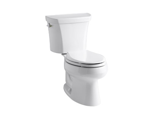 worth Two-Piece Elongated Dual-Flush Toilet with Class Five Flush System and Left-Hand Trip Lever, White (Wellworth Two Piece Toilet)
