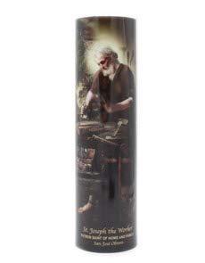 - Saint Joseph The Worker, LED Flameless Devotion Prayer Candle, 6 Hour Timer, Religious Gift