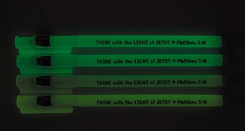 US Gifts Shine with The Light of Jesus Glow in The Dark Pen Assortment (4 Asst) - 36/pk by US Gifts (Image #1)