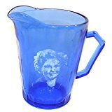 Vintage Hazel Atlas Shirley Temple Pattern Creamer Pitcher Cobalt Blue Glass …