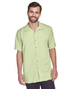 - Harriton Men's Bahama Cord Camp Shirt - Large - Green Mist