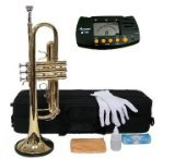 Merano B Flat GOLD / Silver Trumpet with Case+Mouth Piece+Valve Oil+Metro Tuner by Merano
