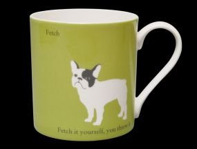 (Large Silhouette Green Bull Dog Bone China Mug. Fetch.. Fetch It Yourself - Stoke on Trent, England)