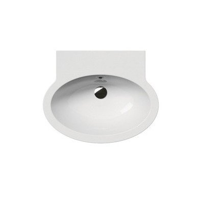 "Panorama 23.6"" Oval Ceramic Wall Mounted Bathroom Sink with Overflow Faucet Mount: No Hole"