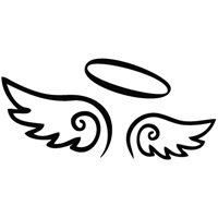 1c41dd0d0 Amazon.com: Angel Wings with Halo Vinyl Decal - size: 5