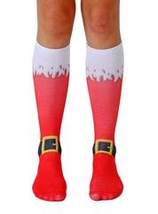 LIVING ROYAL SANTA BOOTS KNEE HIGH SOCKS with a Helicase Brand Sock Ring ()