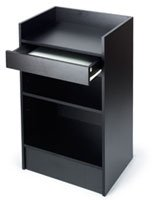 Free-Standing Black Melamine Register Stand, 24 x 38 x 18-Inch, With Adjustable Shelves And Pull-Out Drawer Register Stand