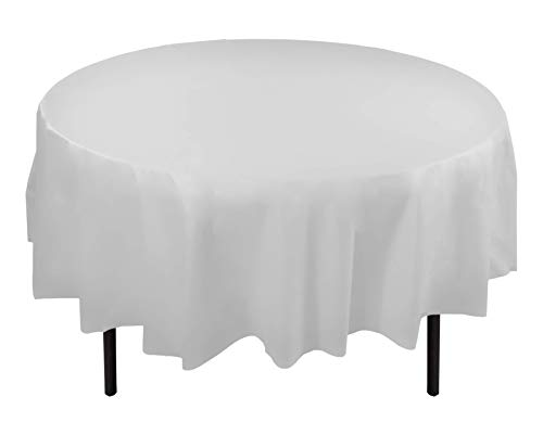 12-Pack Premium Plastic Tablecloth 84in. Round Table Cover