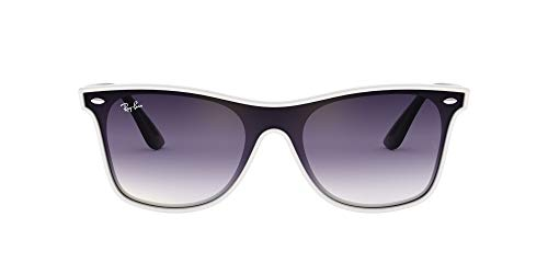 Ray-Ban RB4440N Blaze Wayfarer Sunglasses, White Demishiny/Violet Blue Gradient Mirror, 41 mm (Ray Bans Cheap)