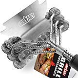 Grill Brush and Scraper Bristle Free - Safe BBQ Brush for Grill Best Rated - 18'' Stainless Grill Grate Cleaner - Safe Grill Accessories for Porcelain/Weber Gas/Charcoal Grill - Gifts for Grill Wizard