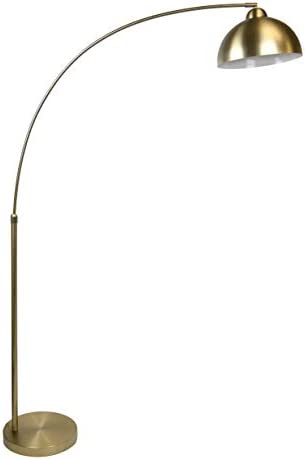 Grandview Gallery 68.5 Plated Gold Modern Arc Floor Lamp Featuring Built-in Extender and Metal Dome Shade with Glossy White Interior – Stylish Lighting Perfect for Any Room or Behind The Couch