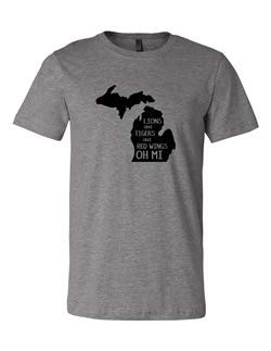 Adult Lions Tigers Red Wings Oh Mi 3001 Premium Crewneck T-Shirt Slogan Unisex Deep Heather Gray -