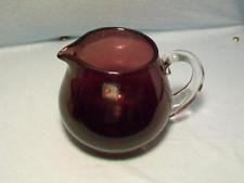 Vintage Hand Blown Amethyst Purple Glass Pitcher With Clear Applied ()