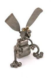 Bobble-head Rabbit Metal Sculpture by YardBirds