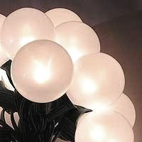 Round White Christmas Lights - Set of 15 White Pearl G50 Globe Christmas Lights - Green Wire -