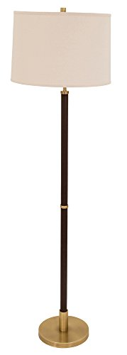 B Hardwick Floor Lamps Antique Brass with Brown Leather ()