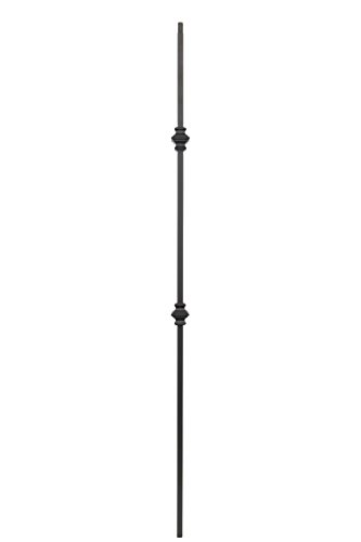 "Iron Balusters - Double Knuckle - Hollow - 44"" Tall - 1/2"" Square - Box of 10 (Satin Black)"