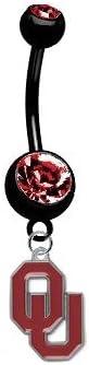 Oklahoma Sooners PREMIUM Black w/ Red Gem Titanium Anodized Sexy Belly Navel Ring