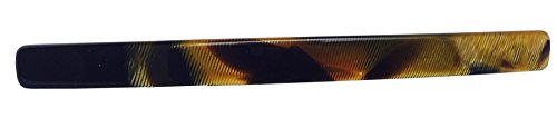 French Amie Long and Thin Handmade Celluloid Caramel Hair Clip Barrette - 4 Inches