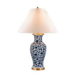 Blue And White Porcelain Table Lamps - Pair of Two (2) Lauren by Ralph Lauren Meredith Blue and White Flower Porcelain Table Lamps