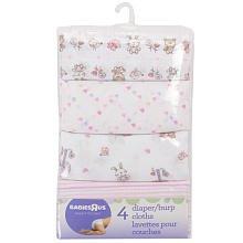 Babies R Us 4 Pack Girls' Patterned Diaper/Burp Cloths