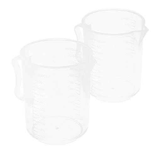 SM SunniMix 2 Pcs Food Grade 1000ml Plastic Clear Graduated Measuring Cup Beaker Jug Container with Handle for Lab School Kitchen Liquid Food Oil Measurement