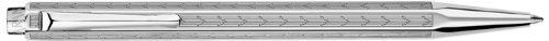 Caran D' Ache Chevron Ecridor Rhodium Ballpoint Pen Chevron Silver, Large Engraving Space (0890.296)