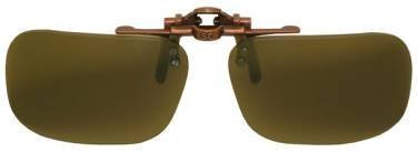 Polarized Bronze Metal Clip On Flip Up Brown Sunglass Lenses, Rectangle, 52mm Wide X 35mm High, 117mm Wide with Bridge by - Vs Glasses Lenses