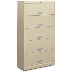 Receding Door Lateral File - HON 625LL 600 Series Five-Shelf Steel Receding Door File, 36w x 13-3/4d x 64-1/4h, Putty