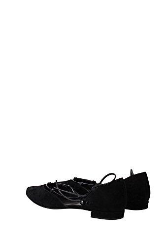 Stuart Weitzman Ballet Gilligan Femme Plat Daim Noir