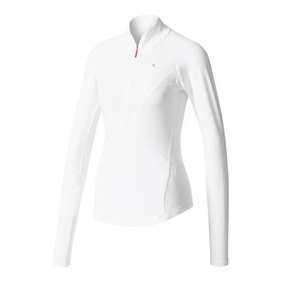 adidas Women`s Stella Mc Barricade Long Sleeve Half Zip NY Tennis Top White and