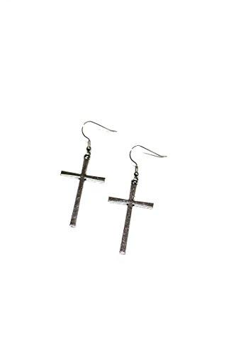Large Cross Silver Toned Dangle Earrings