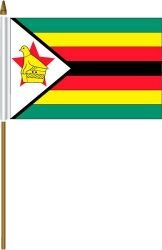 (Zimbabwe Small 4 X 6 Inch Mini Country Stick Flag Banner with 10 Inch Plastic Pole .. Great Quality Polyester ... New)