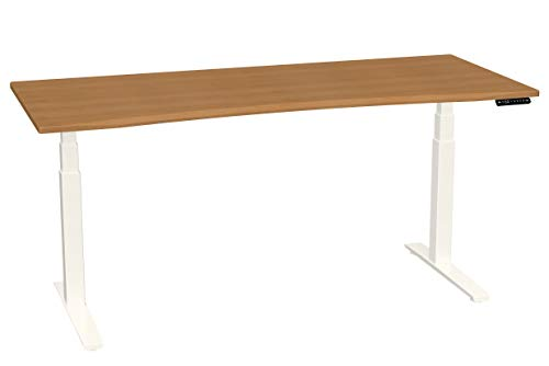 SmartMoves by Howard Miller Dual Motor Electric Adjustable Height Desk with Curved Desktop (Almond Cherry Desktop/Crystal White Base, 72 in - Cherry Howard Desk