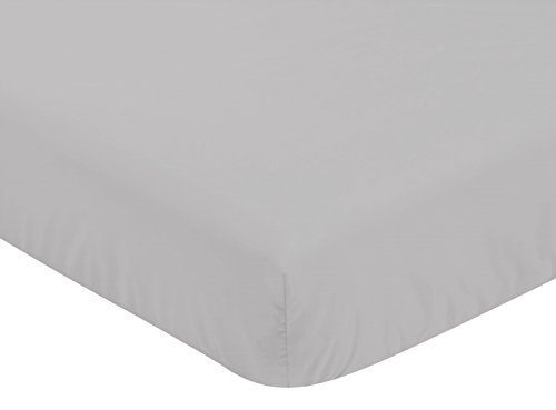 - Sweet Jojo Designs Solid Grey Baby or Toddler Fitted Crib Sheet for Celestial Collection by