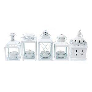 Outdoor Tea Light Holders Tea light lanterns candle holders indooroutdoor set of 5 white tea light lanterns candle holders indooroutdoor set of 5 white workwithnaturefo