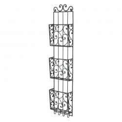 Cheap-Chic Decor Bella Tuscan Wrought Iron 3-Tier Wall Mounted Mail Holder with Key Hooks