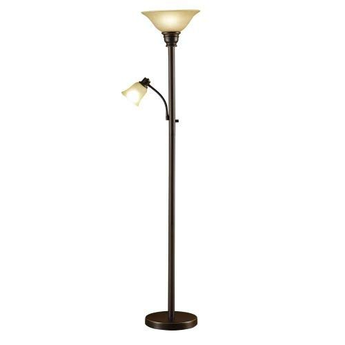 Catalina Lighting 18223-002 Traditional Metal Torchiere Living Room Floor Lamp with Reading Light and Glass Shades, Bronze (Renewed)