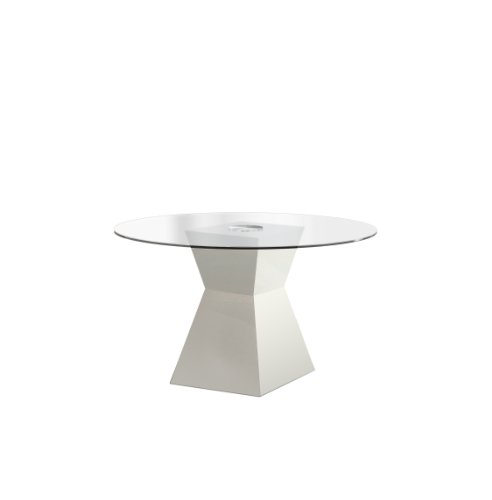 Furniture of America Ethervale Modern Round Dining Table with 12mm Tempered Glass Top, White Finish ()