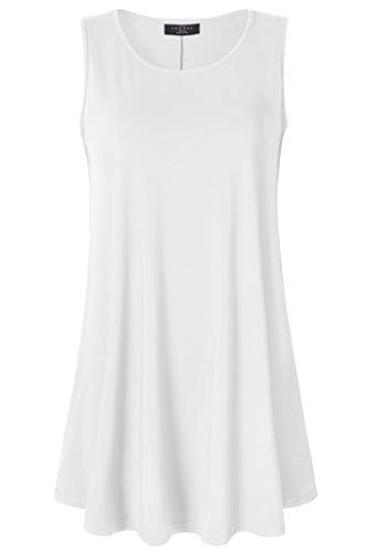 LL WT2098 Women Solid Sleeveless Tunic for Leggings Swing Flare Tank Tops S-5XL Plus Size Made in USA XXL White
