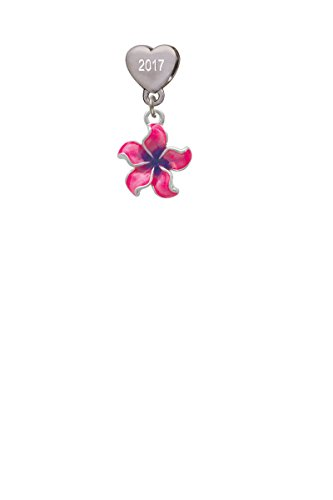 Hot Pink and Purple Plumeria Flower Custom Year Stainless Steel Heart Bead Charm