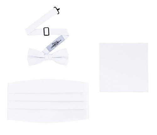 Men's 3 Piece Formal Accessory Set with Bow Tie, Cummerbund & Pocket Hanky(White)