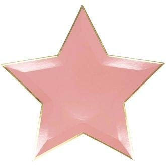 Just Artifacts Star Shaped Decorative Paper Plates 10in (24pcs) - Pink with Gold Foil Trim - Tableware for Birthday Parties, Baby Showers, Grad Parties, Weddings, and Life ()