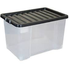 5 x 75L Large Big Plastic Storage Clear Box - Strong & Stackable Boxes - Pack Of 5 V-Global