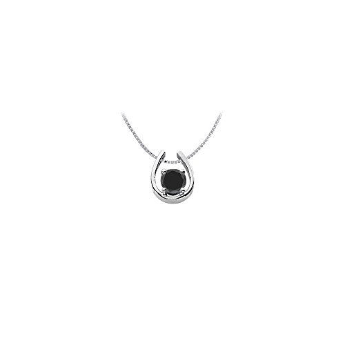 Black Onyx Horseshoe Pendant in Rhodium Treated 925 Sterling Silver 1.00 Carat TGW