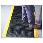 Wearwell 36 x 60'' 9/16'' Thick Black/Yellow Diamond-Plate Spongecote Mat by Wearwell